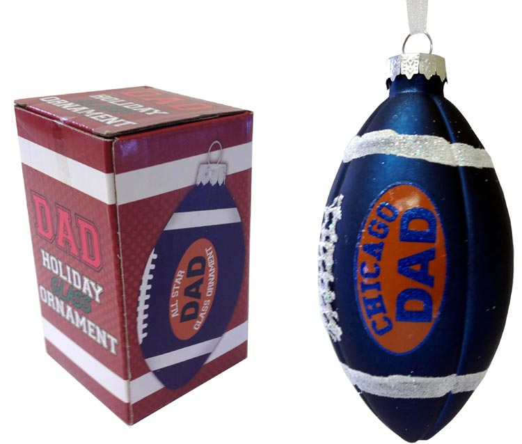 Dad Rocks Chicago Football Ornament - Dad Gifts - Santa Shop Gifts