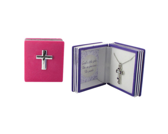Cross Charm Pendant in Bible Case - Christian Gifts - Santa Shop Gifts