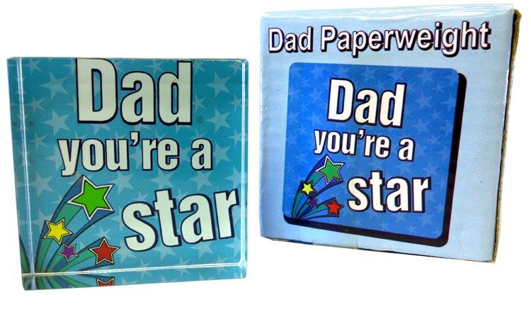 Dad Star Paperweight - Dad Gifts - Santa Shop Gifts
