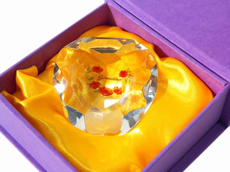 Grandma Heart Crystal in Purple Box - Grandma Gifts - Santa Shop Gifts