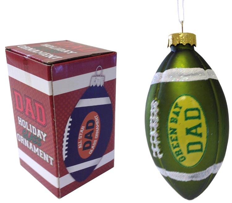 Green Bay Dad Rocks Football Ornament - Dad Gifts - Santa Shop Gifts