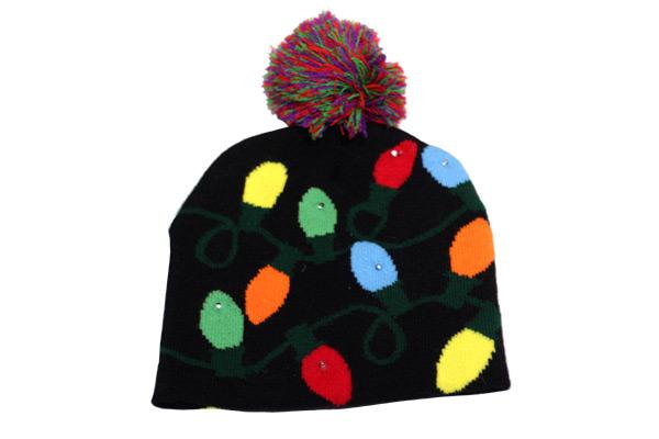 Light Up Knit Holiday Hat - Christmas - Holiday Gifts - Santa Shop Gifts