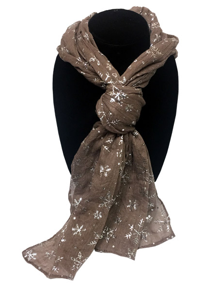Tan Snowflake Designer Scarf - Gifts For Women - Santa Shop Gifts
