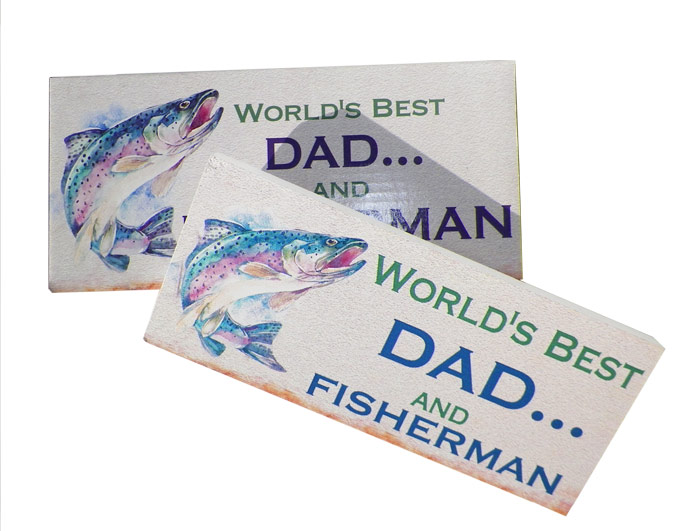 Worlds Best Dad & Fisherman Plaque - Dad Gifts - Santa Shop Gifts
