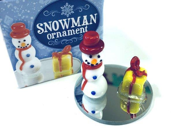 Snowman with Gift Figurine - Christmas - Holiday Gifts - Santa Shop Gifts