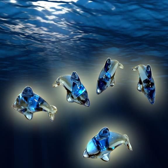 2'' Blue Acrylic Dolphin