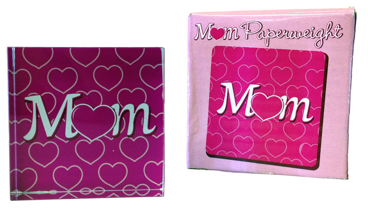 Glass Mom Paperweight - Mom Gifts - Santa Shop Gifts