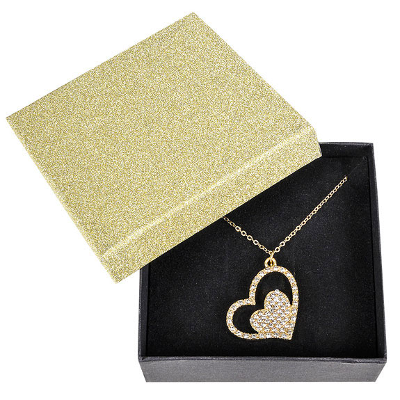 Gold Glitter Heart Necklace - Jewelry Gifts - Santa Shop Gifts