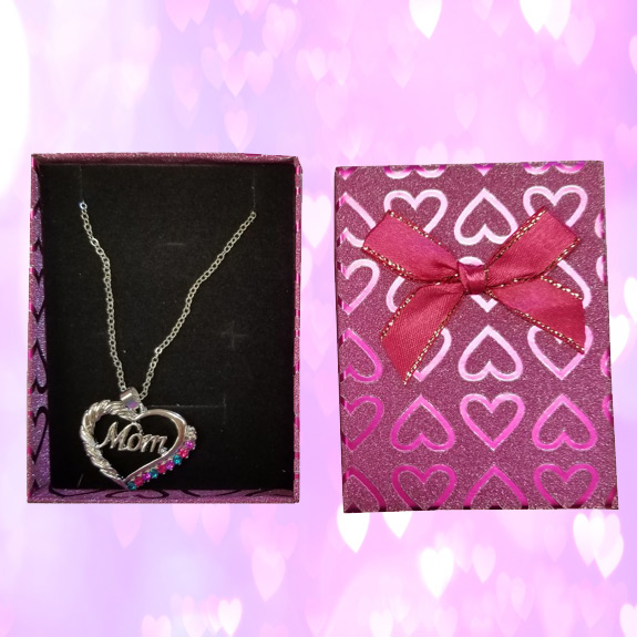 Mom Necklace in Glitter Heart Gift Box - Mom Gifts - Santa Shop Gifts