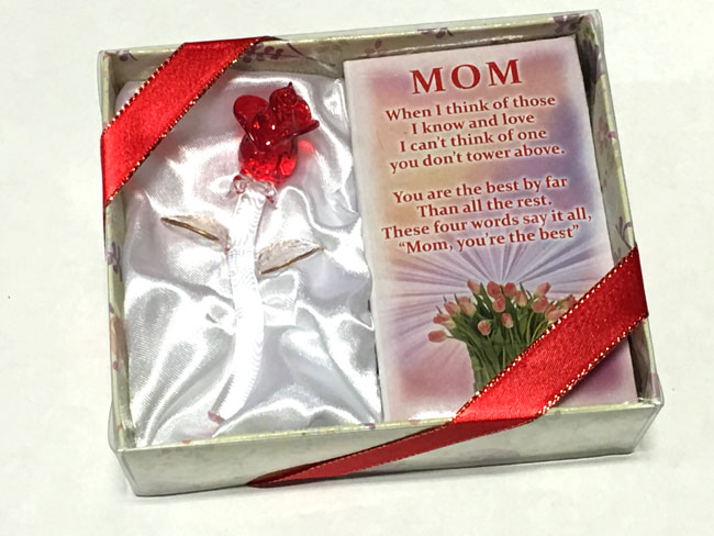Mom Glass Gift Rose - Mom Gifts - Santa Shop Gifts