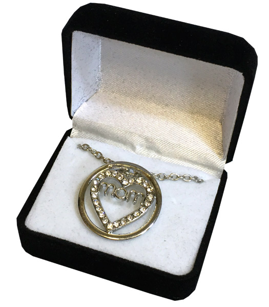 Mom Crystal Silver Necklace in Black Box - Mom Gifts - Santa Shop Gifts