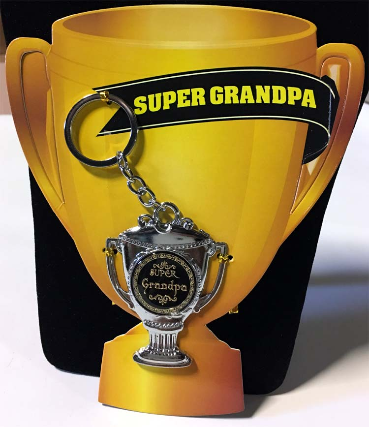 Super Grandpa Award Key Chain - Grandpa Gifts - Santa Shop Gifts