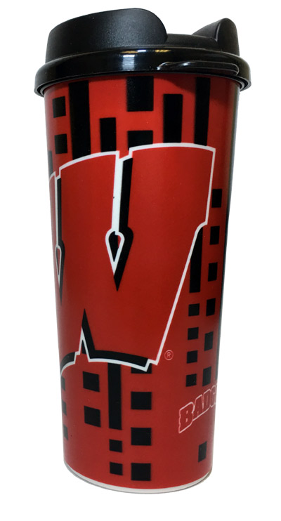 Wisconsin Badgers 16 Oz. Travel Mug - Sports Team Logo Gifts - Santa Shop Gifts