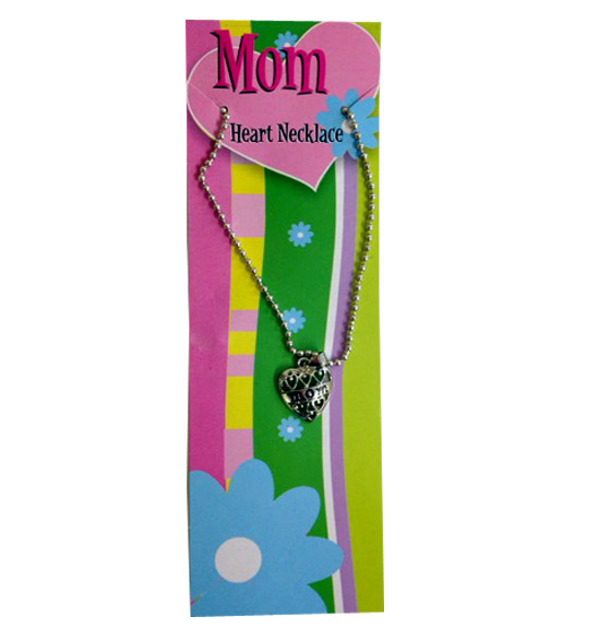 Mom Heart Necklace on Card