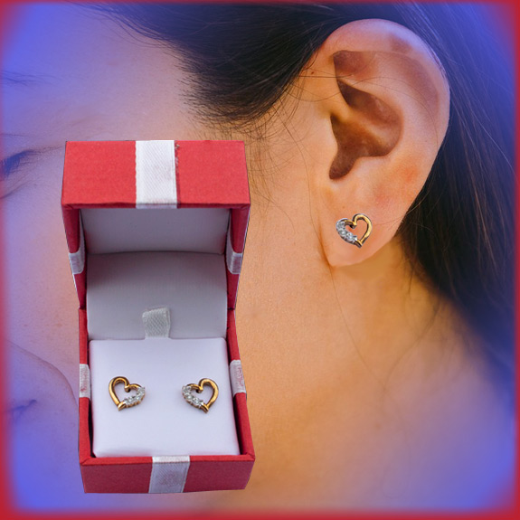 Crystal Heart Earrings - Jewelry Gifts - Santa Shop Gifts