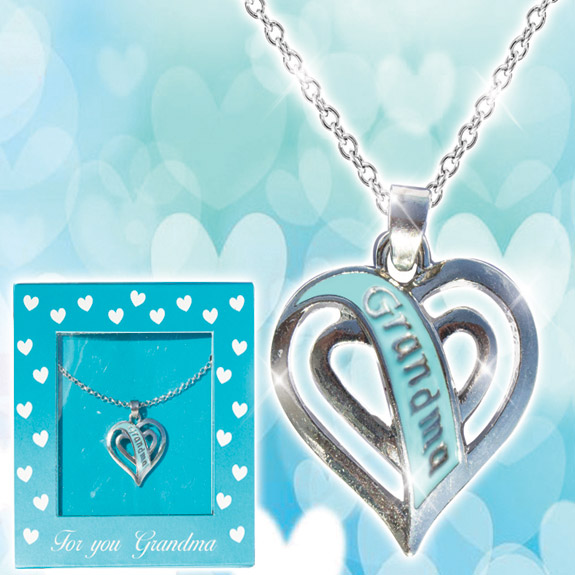 Grandma Teal Heart Necklace - Grandma Gifts - Santa Shop Gifts