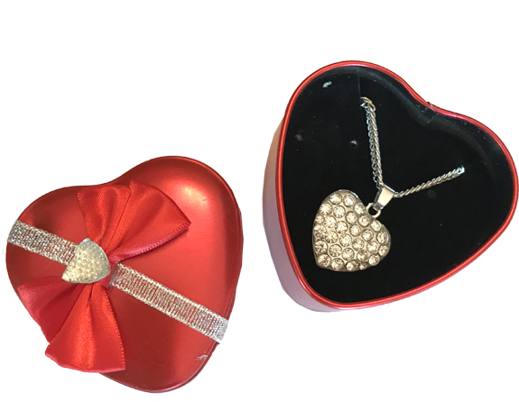 Bling Heart Necklace in Heart Tin - Jewelry Gifts - Santa Shop Gifts