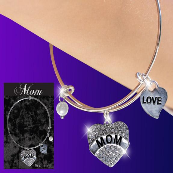 Mom Glitter Heart Charm Bracelet - Mom Gifts - Santa Shop Gifts