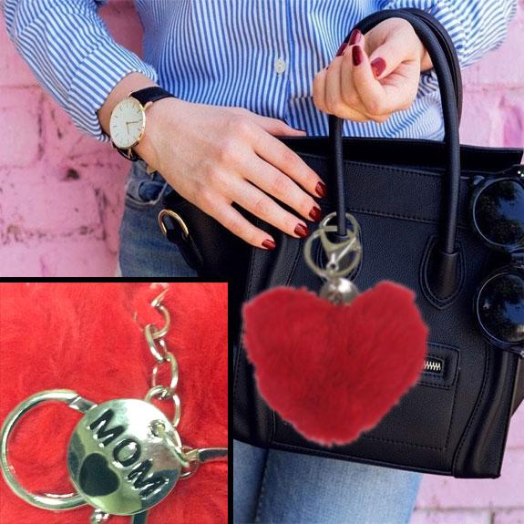 Mom Plush Heart Key Chain - Mom Gifts - Santa Shop Gifts