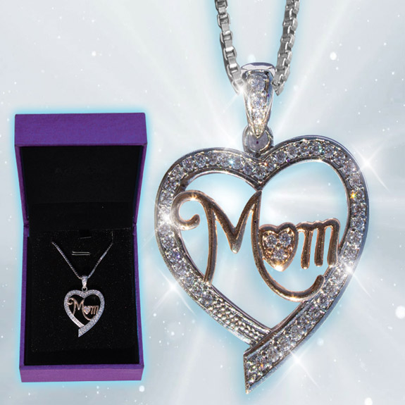 Mom Heart in Heart Necklace - Mom Gifts - Santa Shop Gifts