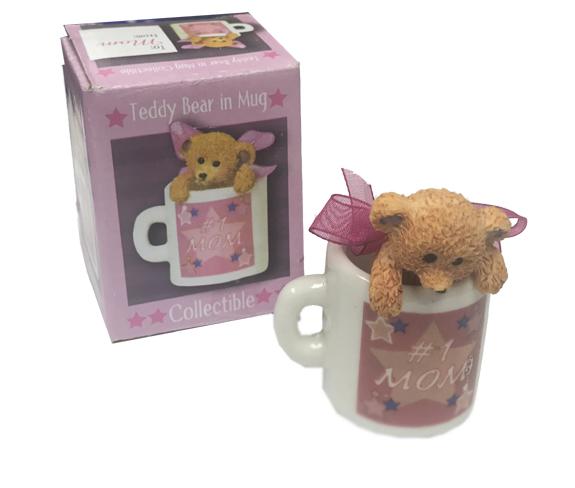 #1 Mom Teddy Bear in Cup