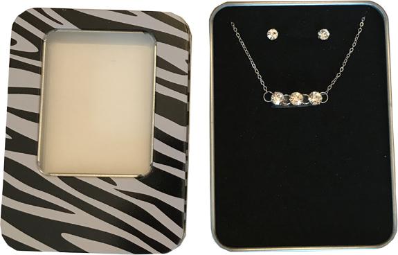 Triple Diamond Necklace & Earring Set - Jewelry Gifts - Santa Shop Gifts