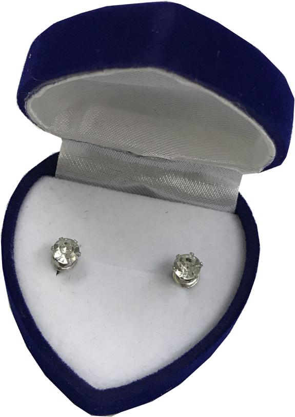 Diamond Earrings in Velvet Heart Box - Jewelry Gifts - Santa Shop Gifts