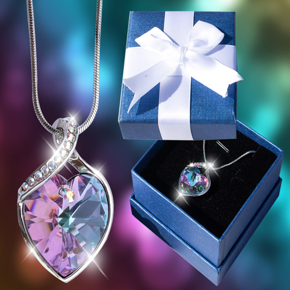 Swirl Crystal Heart Necklace in Bow Box - Jewelry Gifts - Santa Shop Gifts