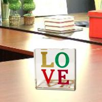Love Glass Paperweight