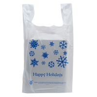 50 Pack - Happy Holidays T-Shirt Shopping Bags - Santa Shop Gift Bags - Santa Shop Gifts