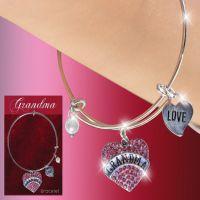 Grandma Glitter Heart Charm Bracelet - Grandma Gifts - Santa Shop Gifts